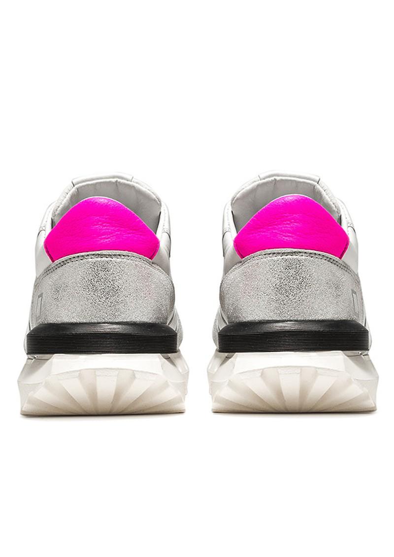 D.A.T.E Luna Leather Running Sneakers - White & Fuchsia main image