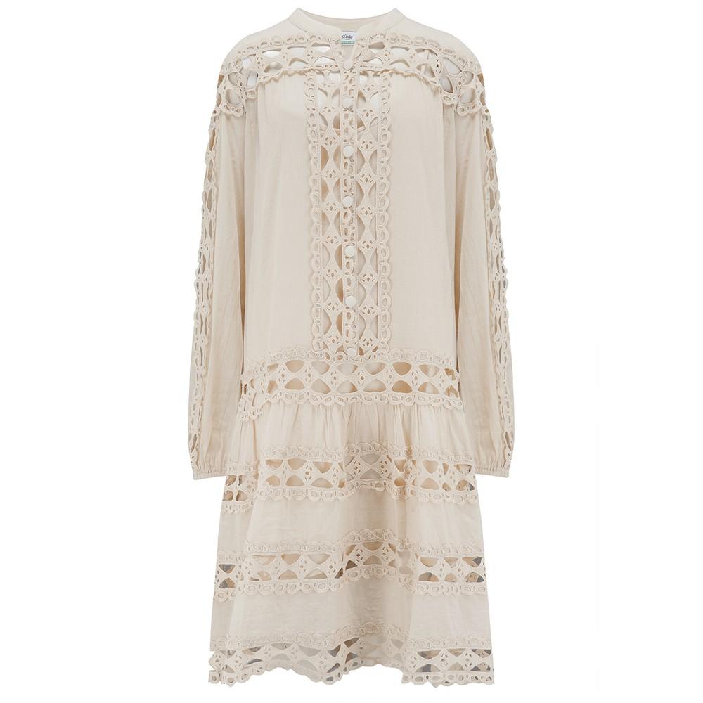 Smock Cotton Dress - Natural