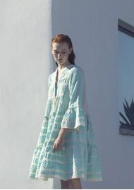 DEVOTION Ella Short Cotton Dress - Aqua Blue & White