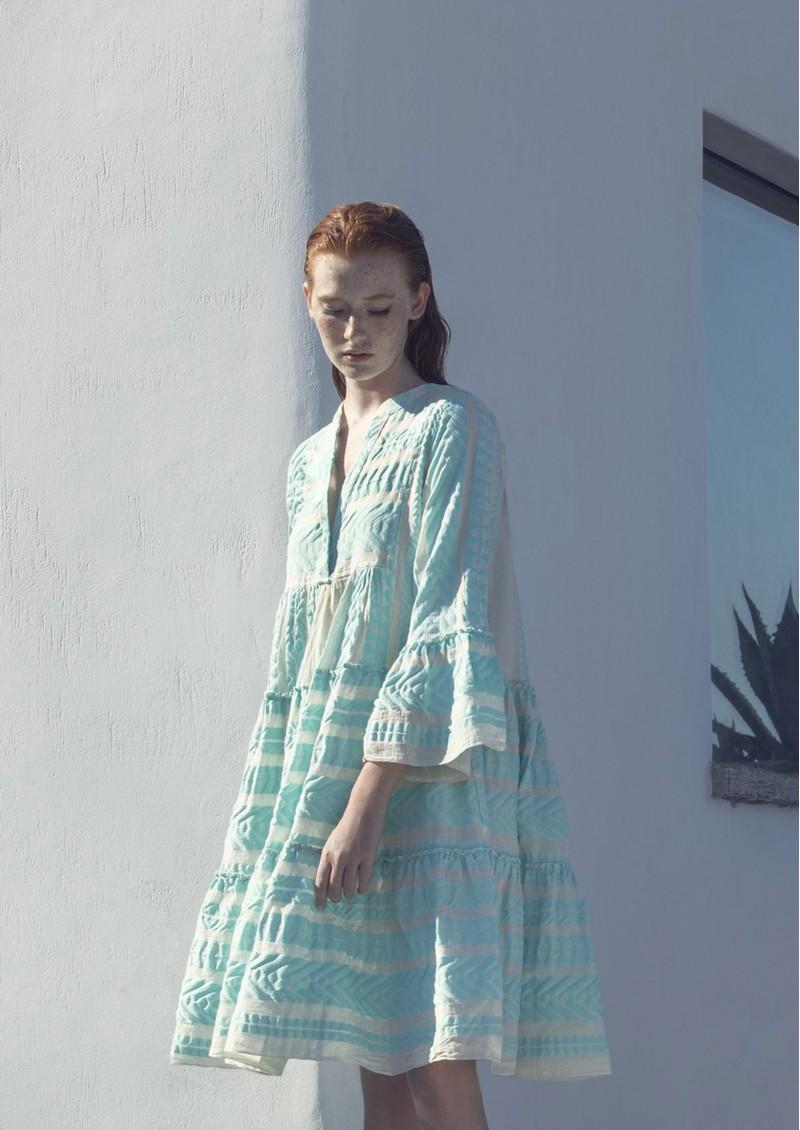 DEVOTION Ella Short Cotton Dress - Aqua Blue & White main image