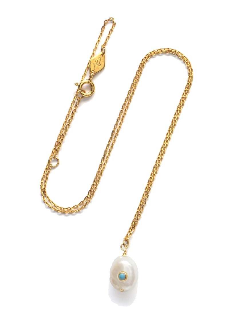 ANNI LU Baroque Pearl Turquoise Necklace - Gold main image