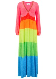 PITUSA Rainbow V Neck Maxi Dress - Brights