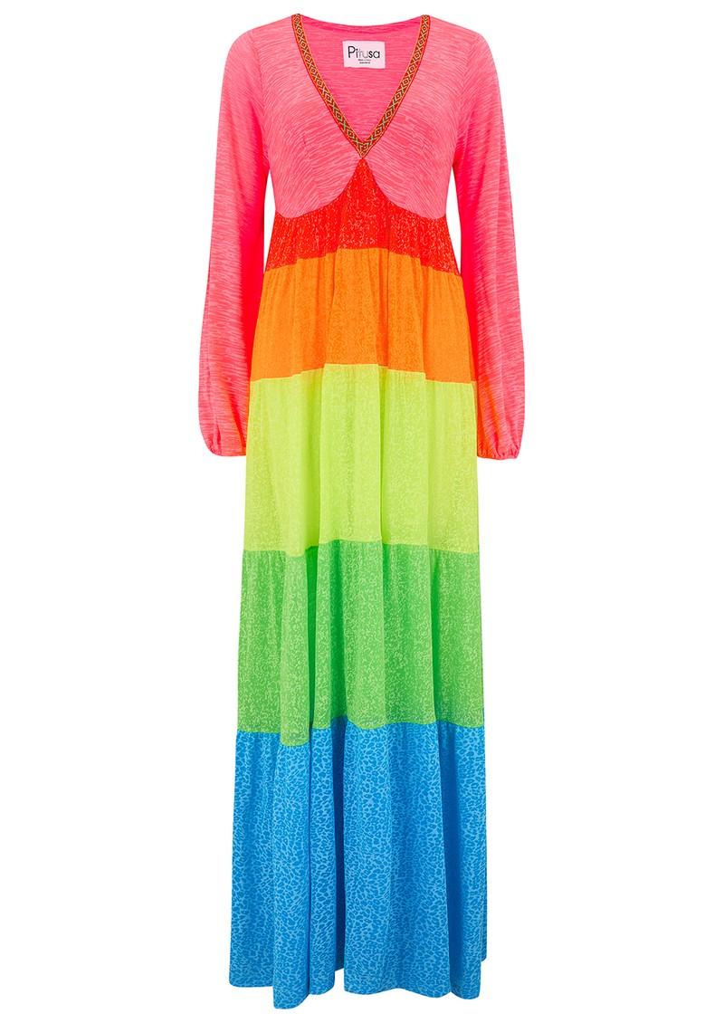 PITUSA Rainbow V Neck Maxi Dress - Brights main image