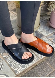 SHOE THE BEAR Astrid Leather Slip-in Mule - Cognac