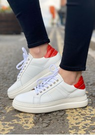 SHOE THE BEAR Vinca Leather Trainers - White & Red