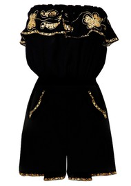 LINDSEY BROWN Santiago Playsuit - Black & Gold