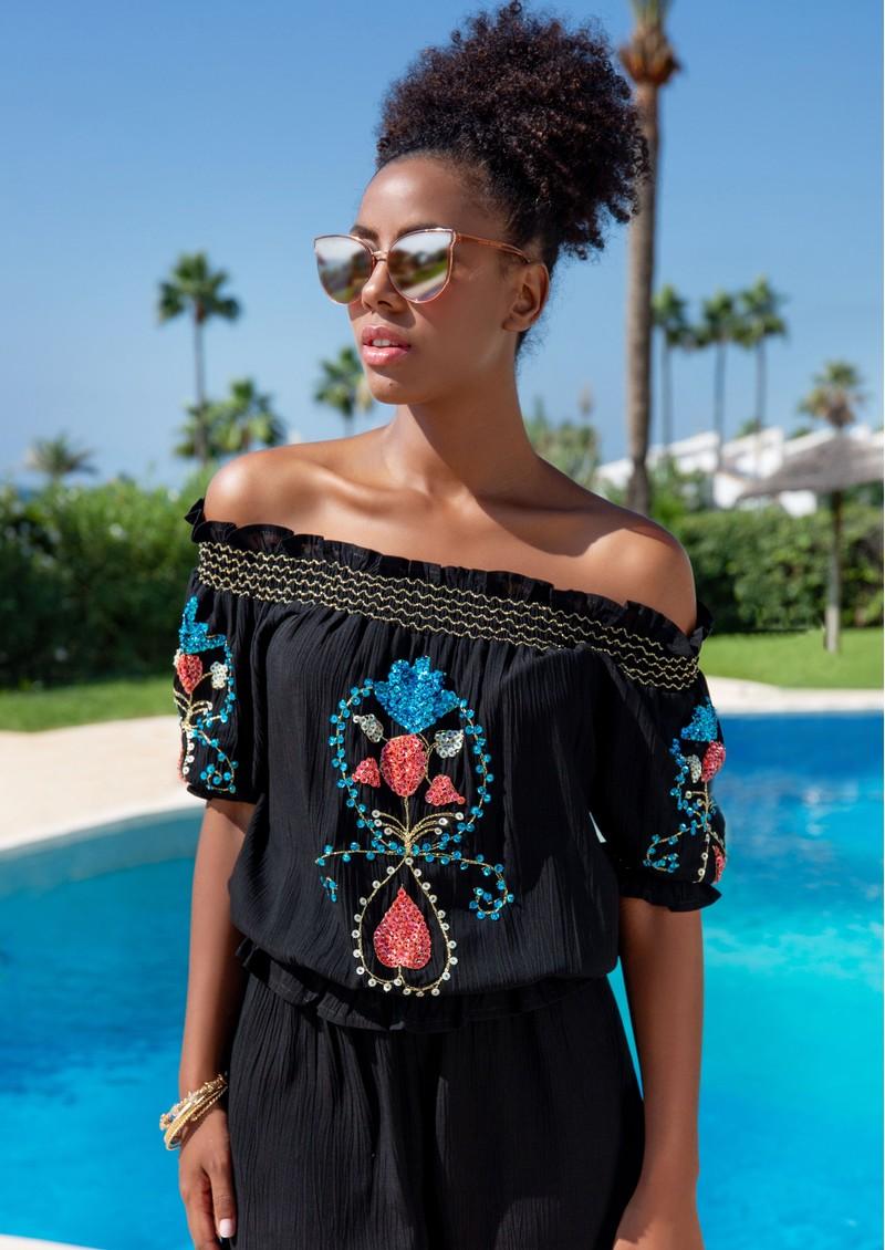 LINDSEY BROWN Marseilles Bardot Embellished Top - Black & Coral main image