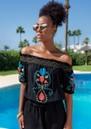 Marseilles Bardot Embellished Top - Black & Coral additional image