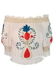LINDSEY BROWN Marseilles Bardot Embellished Top - White & Coral