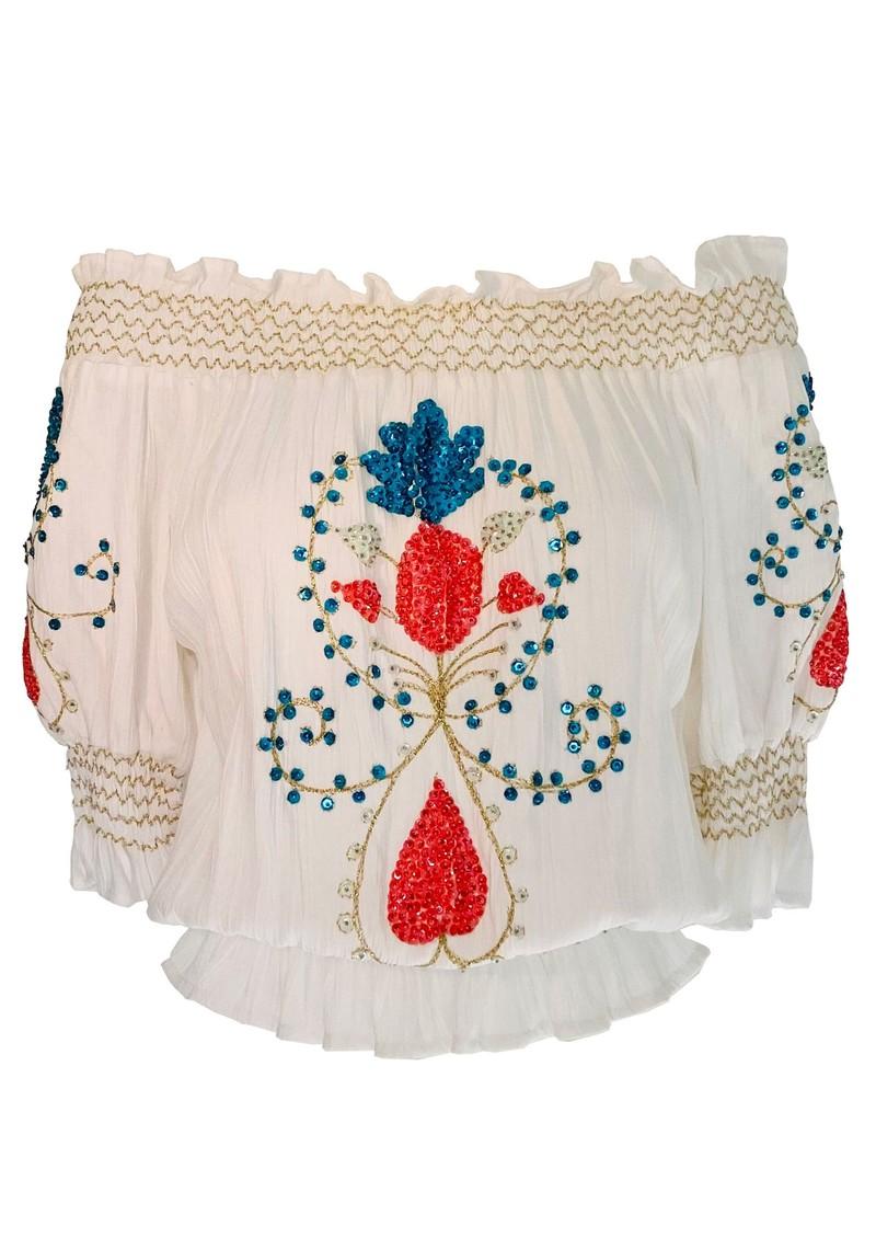 LINDSEY BROWN Marseilles Bardot Embellished Top - White & Coral main image