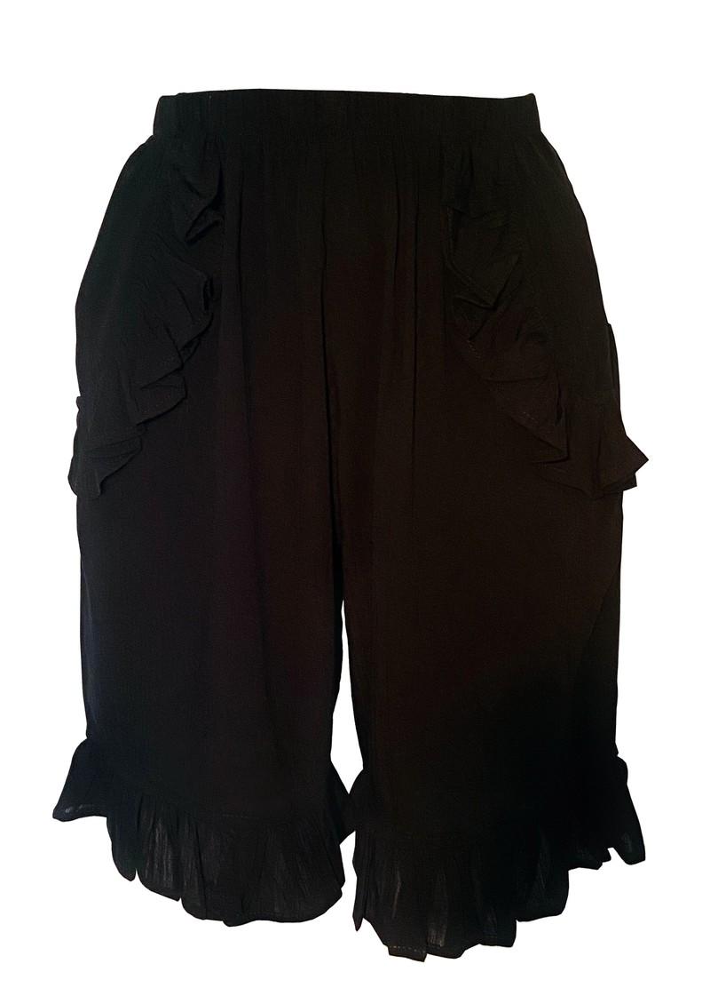 LINDSEY BROWN Milan Ruffle Shorts - Black main image