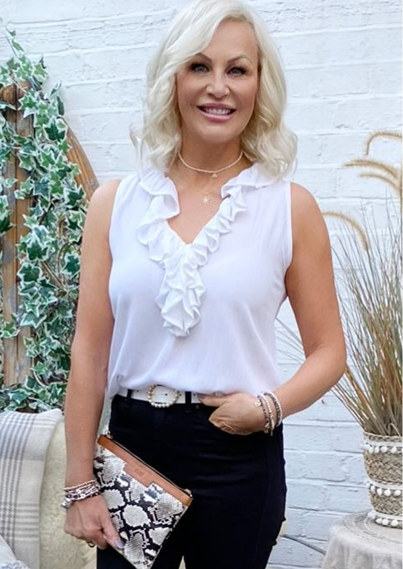 LINDSEY BROWN Florence Ruffle V Neck Top - White  main image