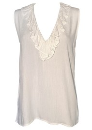 LINDSEY BROWN Florence Ruffle V Neck Top - White