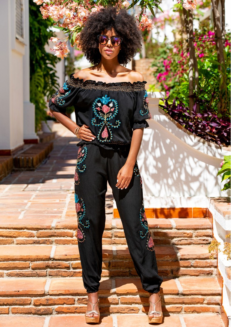 LINDSEY BROWN Valencia Embellished Trousers - Black main image