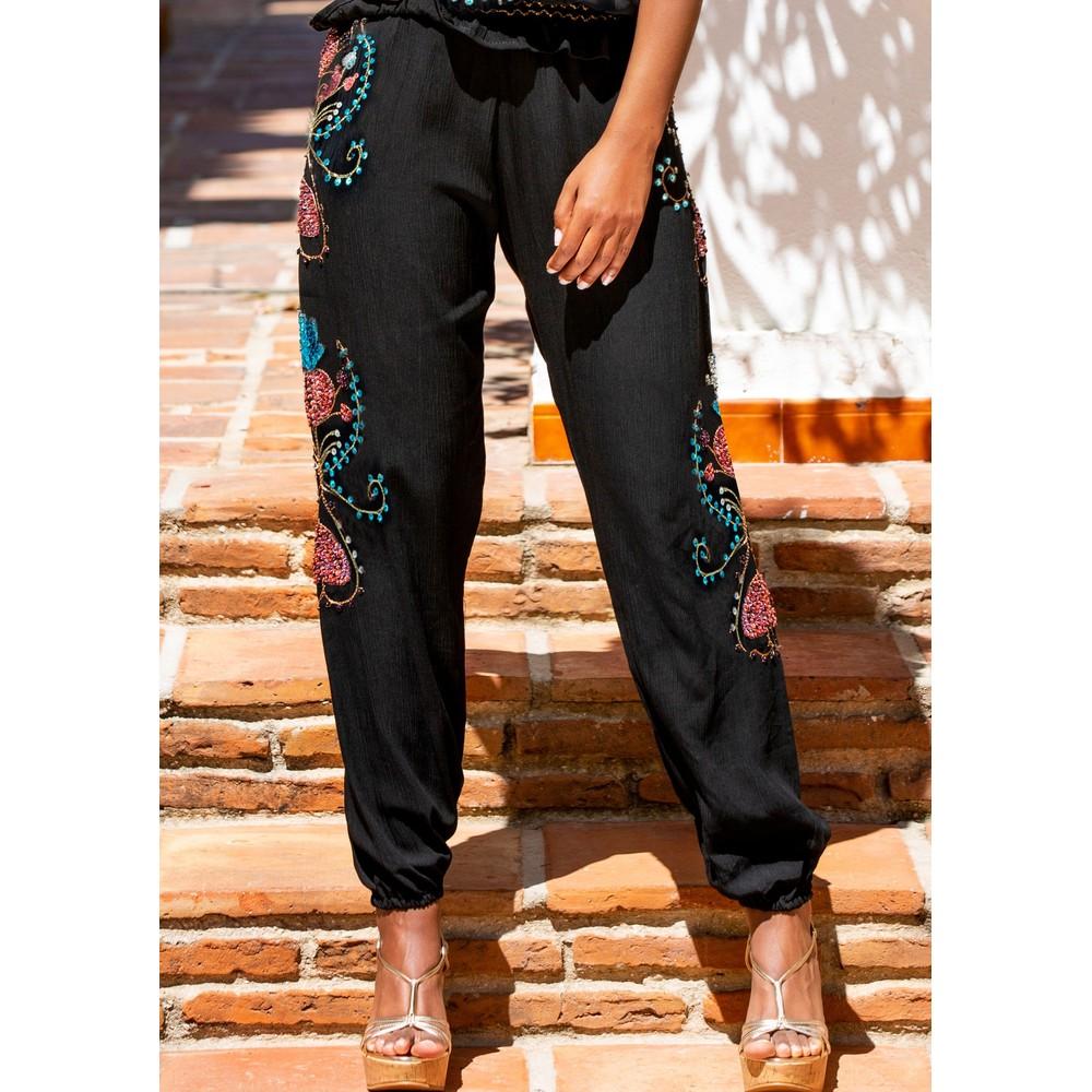 Valencia Embellished Trousers - Black