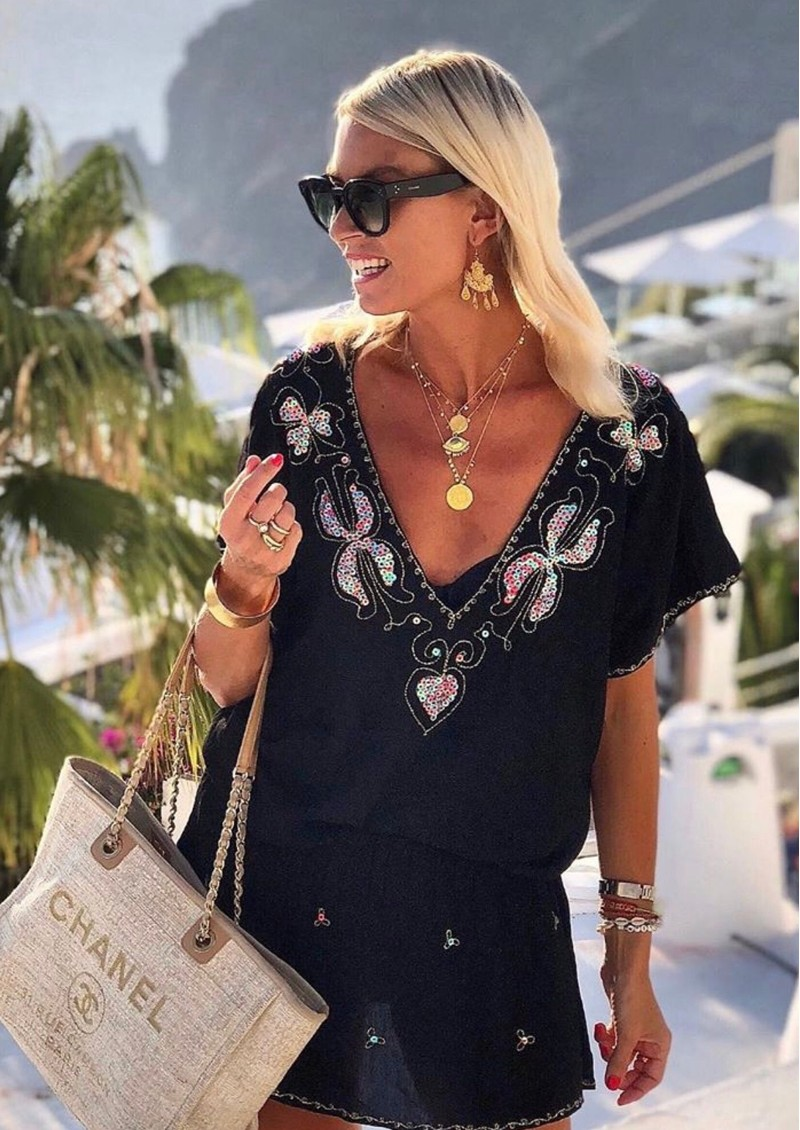LINDSEY BROWN Paloma Drop Waist Dress - Black, Aqua & Coral main image