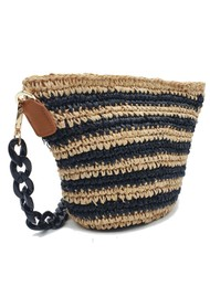 NOOKI Valentina Raffia Cross Body Bag - Stripe