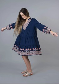NOOKI Whitmore Cotton Dress - Navy