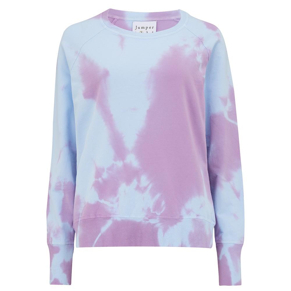 Tie Dye Cotton Sweatshirt - Sky & Purple
