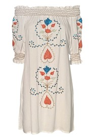 LINDSEY BROWN Cassis Embellished Bardot Dress - White & Coral