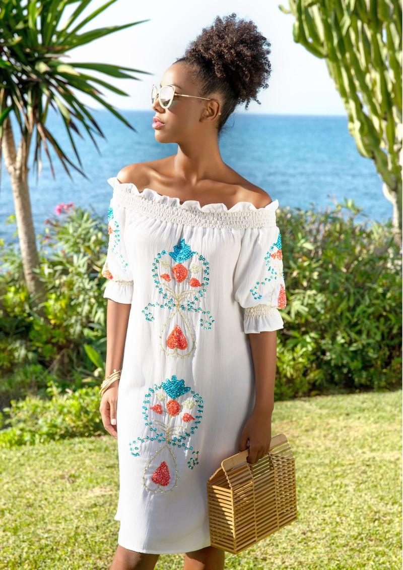 LINDSEY BROWN Cassis Embellished Bardot Dress - White & Coral main image