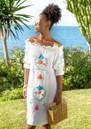Cassis Embellished Bardot Dress - White & Coral additional image