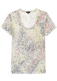 Rails The Luna Scoop Neck Linen Tee - Rainbow Cheetah