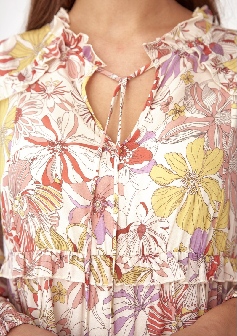 DEA KUDIBAL Floris Silk Tunic Blouse - Gerbera Orange main image