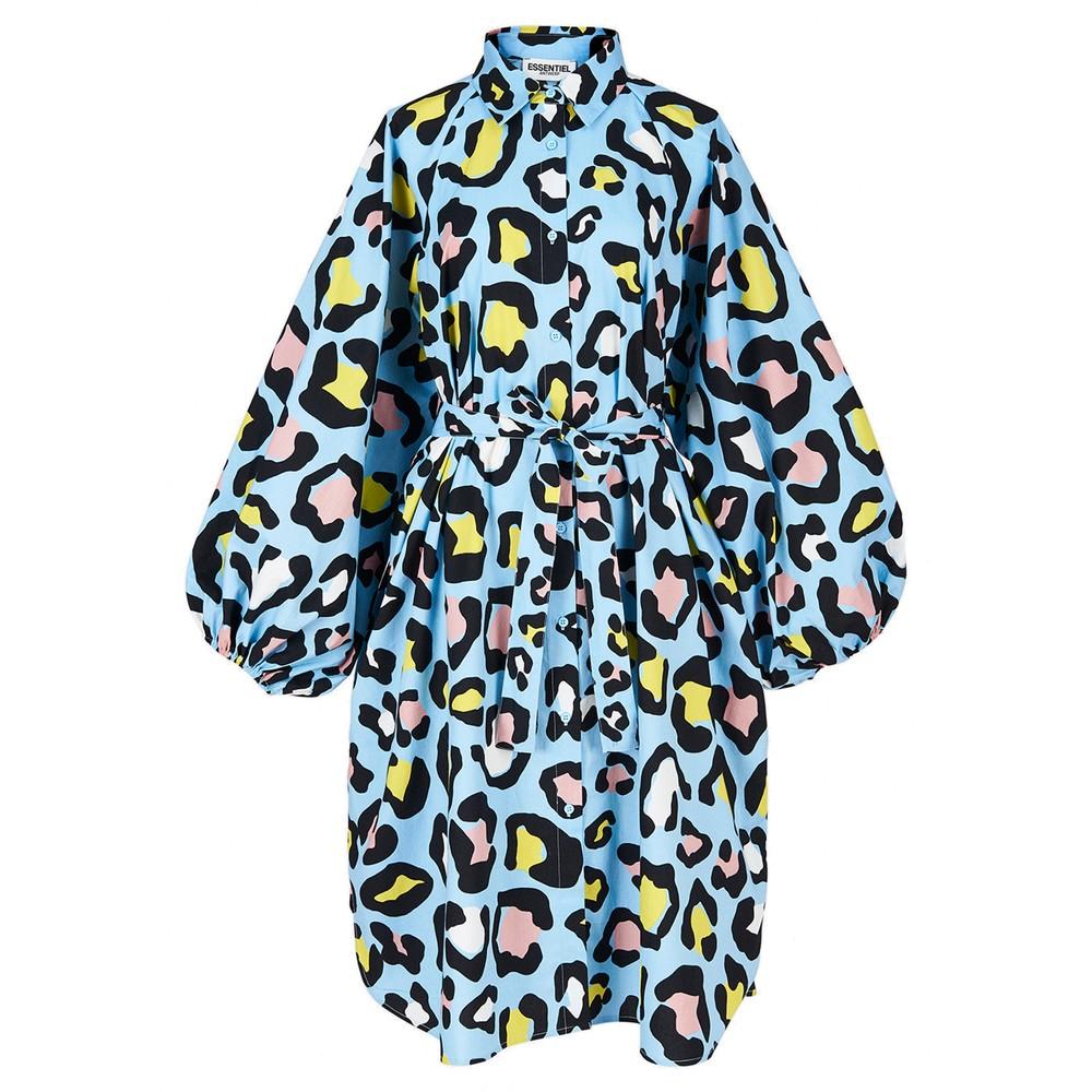 Zorn Leopard Print Shirt Dress - Sky Blue