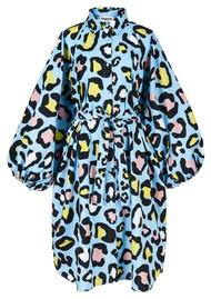ESSENTIEL ANTWERP Zorn Leopard Print Shirt Dress - Sky Blue