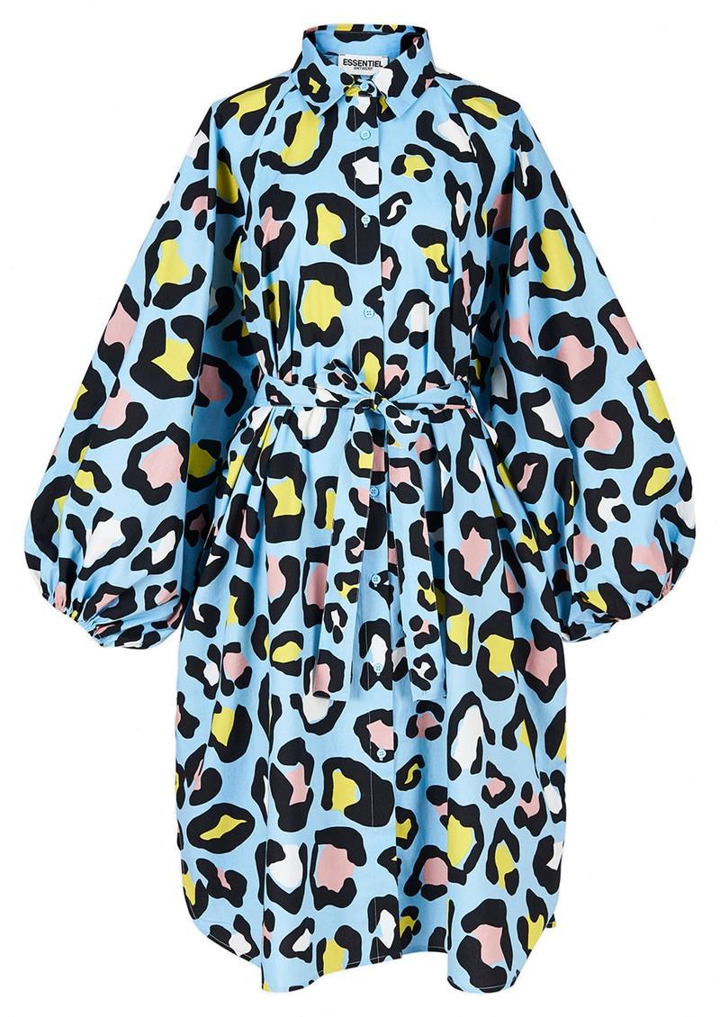 ESSENTIEL ANTWERP Zorn Leopard Print Shirt Dress - Sky Blue main image