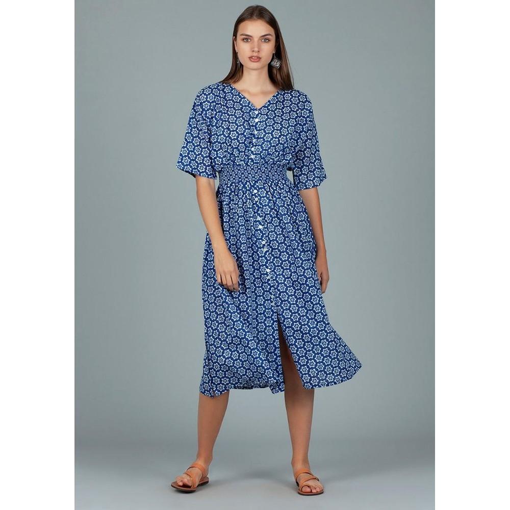 Hanoi Cotton Dress - Shanghai Blue