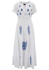 DREAM Detail Embroidered Dress - White & Blue