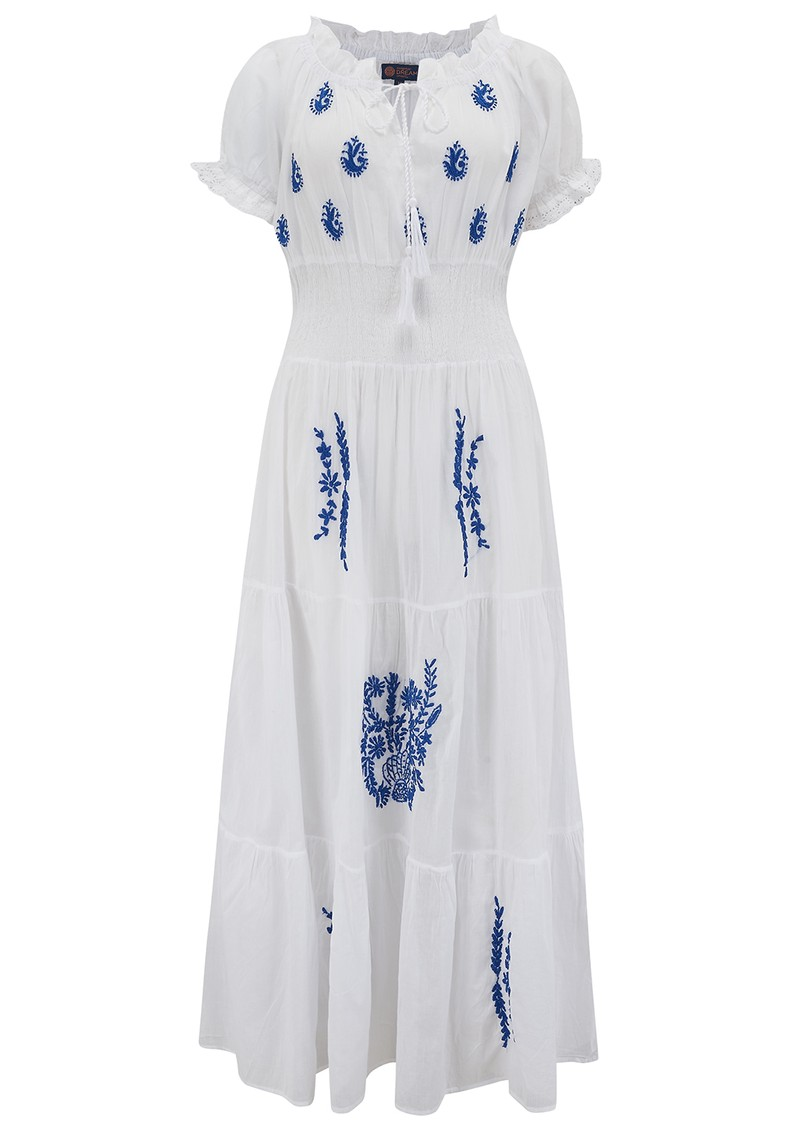DREAM Detail Embroidered Dress - White & Blue main image
