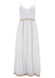 DREAM Embroidered Cotton Strap Dress - White & Gold