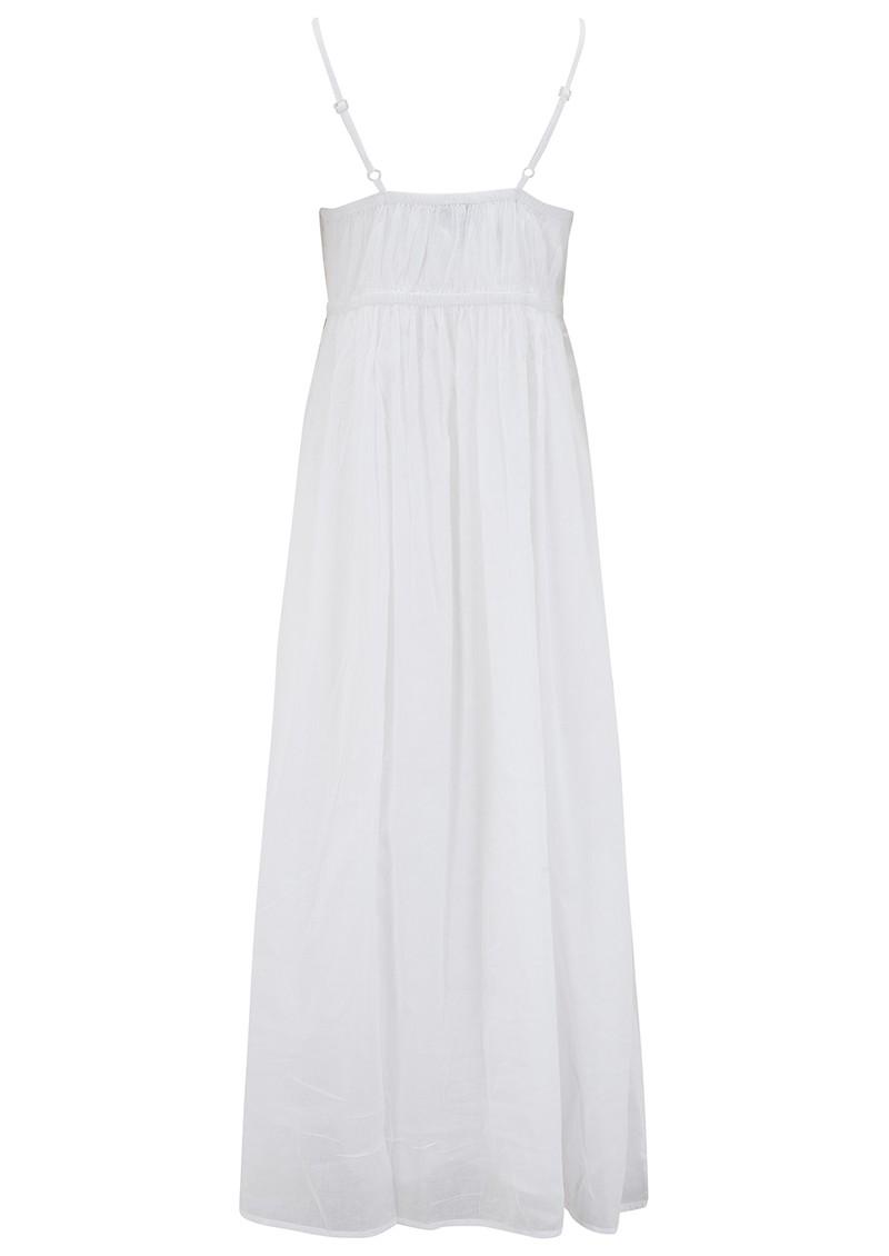 DREAM Embroidered Cotton Strap Dress - White & Gold main image