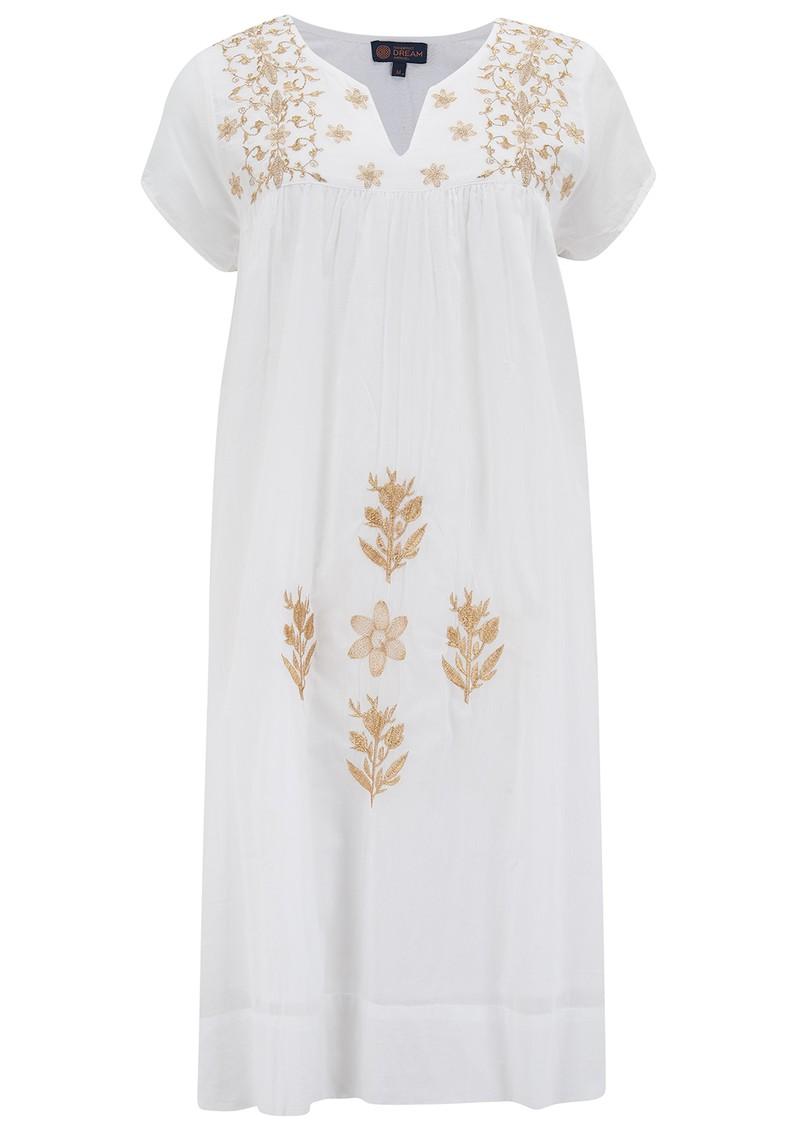 DREAM Tunic Cotton Dress - White & Gold main image