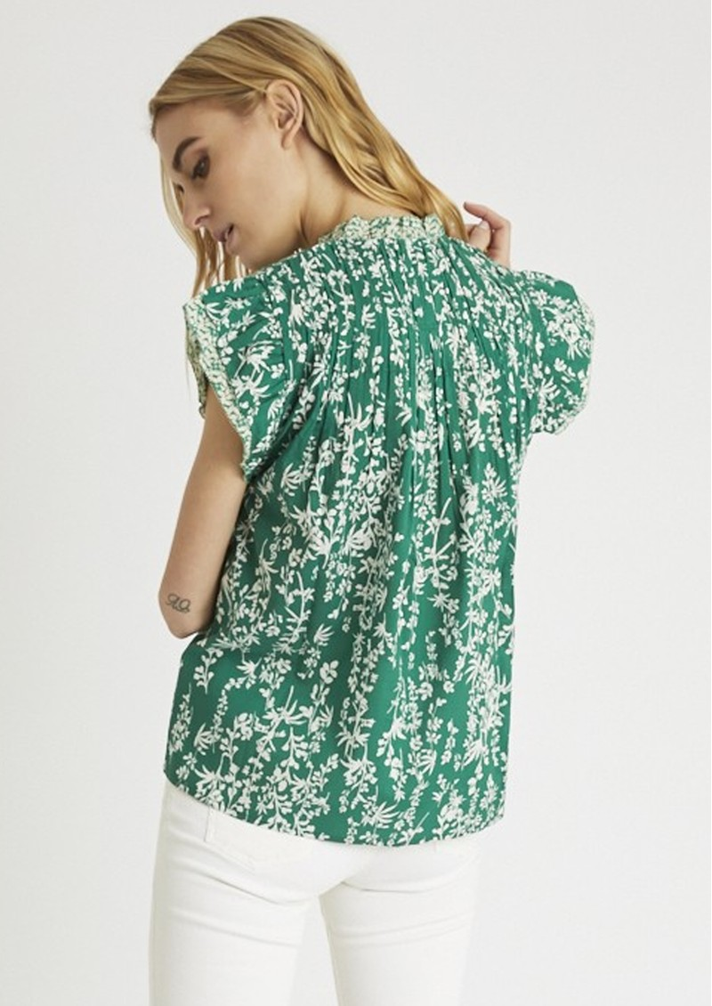 BERENICE Toscane Printed Cotton - Top - Green  main image