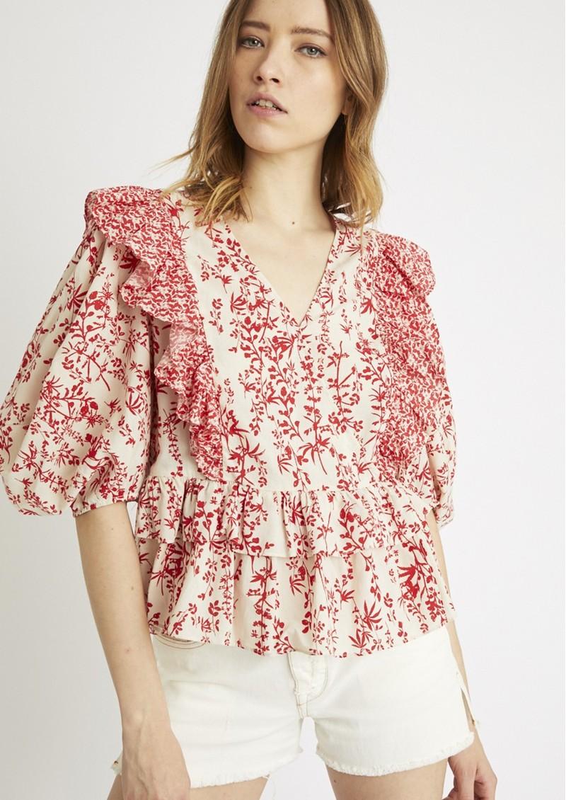 BERENICE Besos Cotton Printed Short Blouse - Red main image
