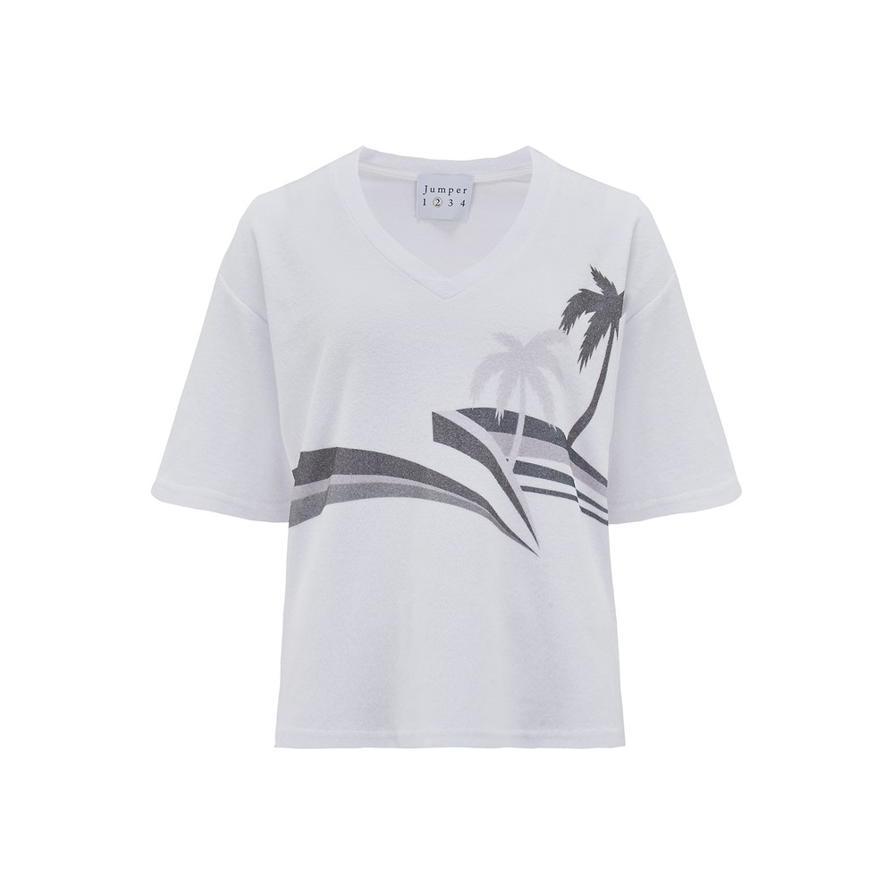 Terry Cotton Palm Printed Top - White