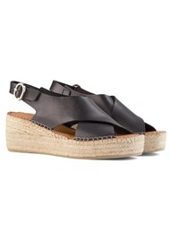 SHOE THE BEAR Orchid Leather Cross Sandals - Black