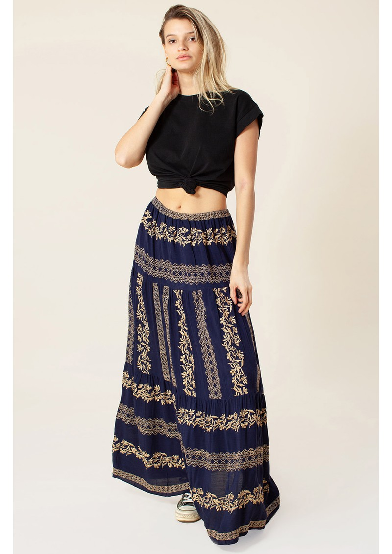 Sasha Maxi Skirt - Navy & Gold main image