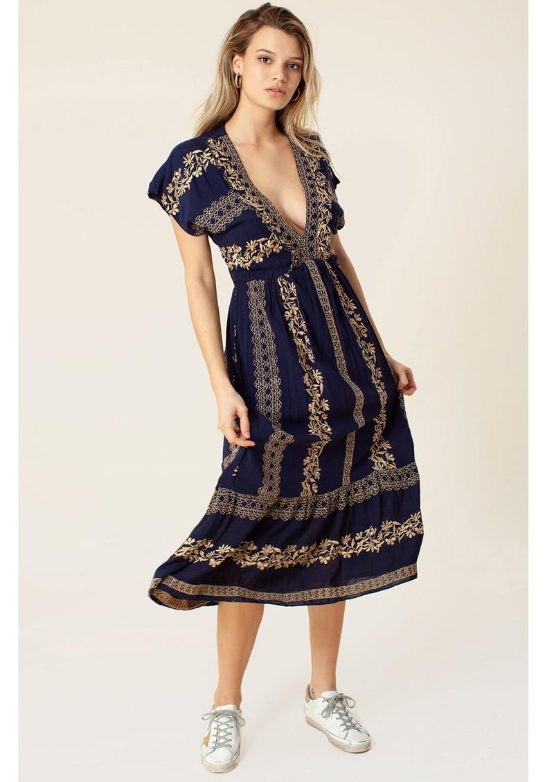 Hale Bob Sybil Midi Dress - Navy & Gold main image