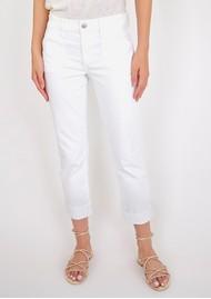 Paige Denim Brigitte Mid Rise Slim Fit Boyfriend Jeans - Crisp White