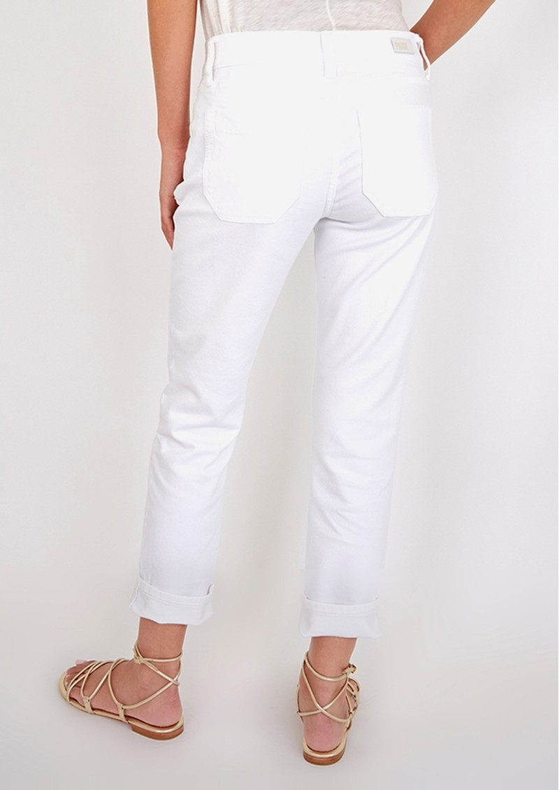 Paige Denim Brigitte Mid Rise Slim Fit Boyfriend Jeans - Crisp White main image