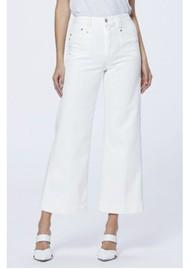Paige Denim Anessa High Rise Cropped Wide Leg Jeans - Light Ecru