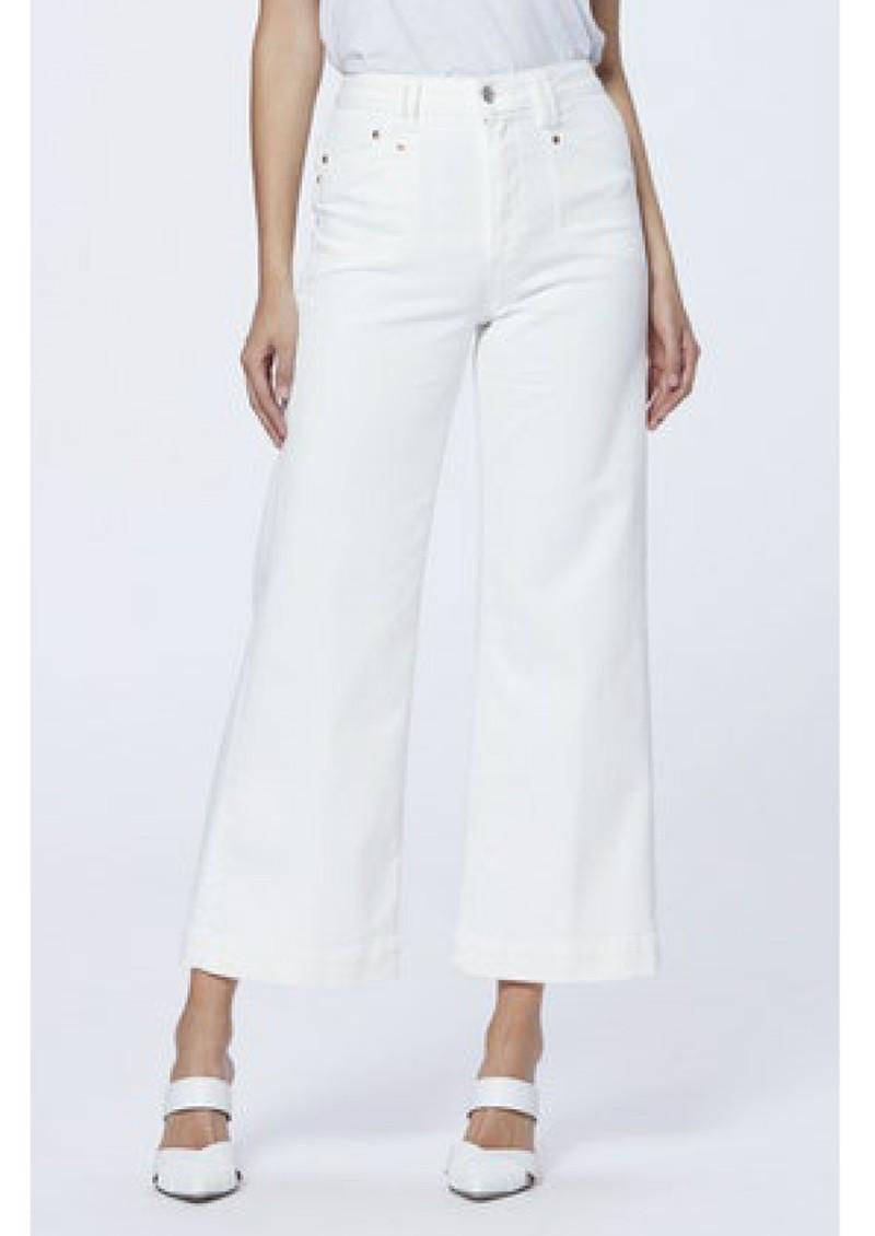 Paige Denim Anessa High Rise Cropped Wide Leg Jeans - Light Ecru main image