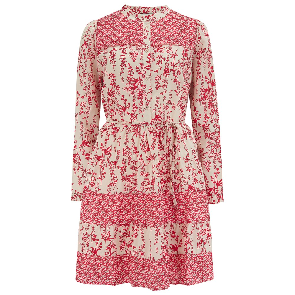Reason Cotton Printed Short Dress - Red