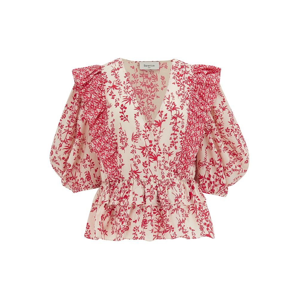 Besos Cotton Printed Short Blouse - Red
