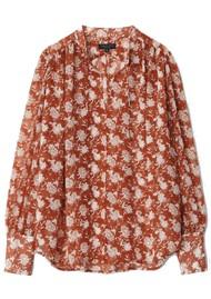 RAG & BONE Carly Floral Tie Top - Pecan